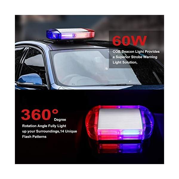 126 Luz Azul & rojo LED estroboscópica intermitentes para emergencia peligro advertencia vehículos de construcción luz minibar luz de advertencia luminosa con base magnética 2