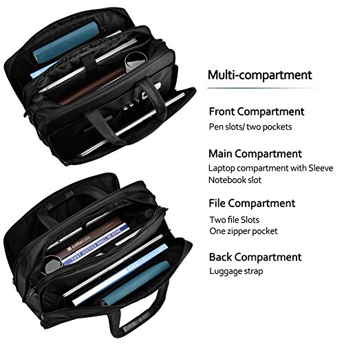 KOPACK Expandable Laptop Briefcase 17 17.3 Inch Large Business Water Resistant Shoulder Computer Bags Black by kopack (Image #2)