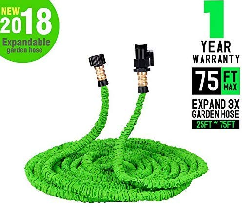 Garden Hose Pipe - Wingogh Expandable Garden Hose - 75ft Expanding Pressure Garden Water Hose, Brass Fitting & Triple Layer Latex Core & Latest Improved Extra Strength Fabric Protection for All Your Watering Needs