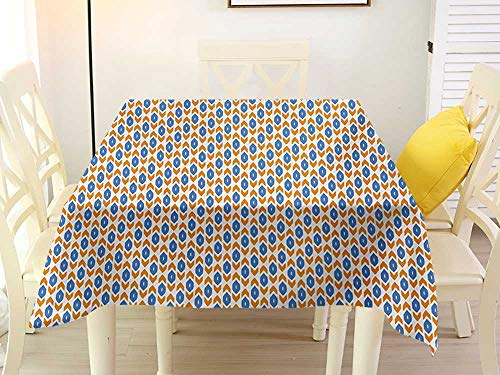 Traditional Chair Arrow - L'sWOW Square Tablecloth Gingham Ikat Middle Eastern Inspirations Geometric Shapes Arrow Traditional Abstract Motifs Blue Orange White Chairs 50 x 50 Inch