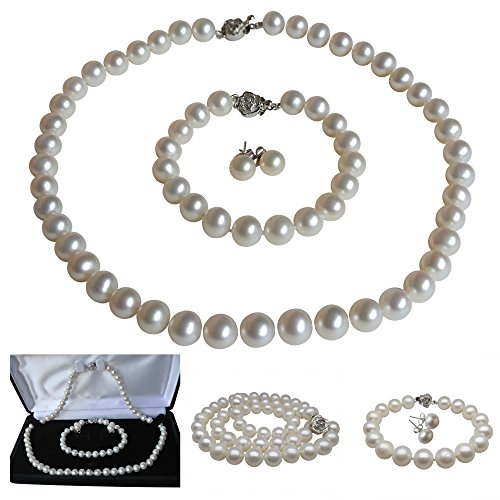 Pearl Romance Round White Strand Pearl Necklace Bracelet Stud Earrings 3pc Set Genuine Cultured Freshwater 6mm 7mm 8mm 9mm 10mm 11mm (16, 6.0-6.5mm)