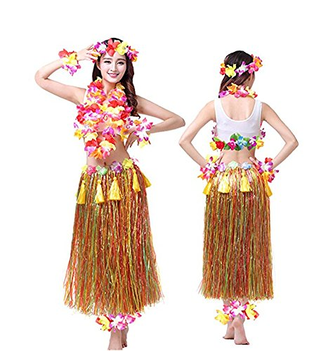Rosemary Hawaiian Hula Dance Costume Ballet Show Cosplay Dress Skirt Garland for Adult 80CM Full Sets Mulcticolor