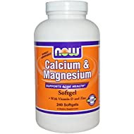 NOW Foods Calcium  amp; Magnesium + Vitamin D Softgels, 240 ct (Quantity of 2)