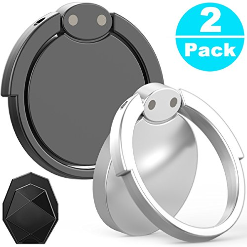 Price comparison product image Phone Ring Holder & Stand - 2 Pieces Universal Finger Grip Stand Holder Ring - Car Mount Phone Ring Grip for iPhone / Samsung / Galaxy / iPad / Phone Case (Black Hero)