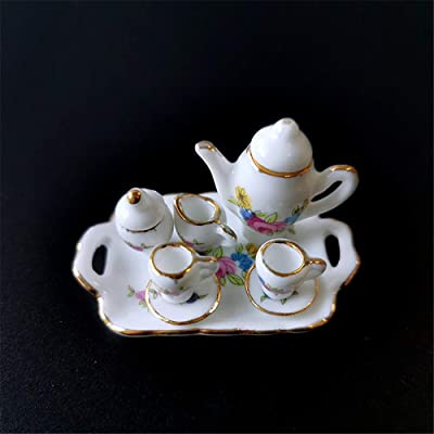 SXFSE Dollhouse Decoration Accessories, 1:12 Dollhouse Miniature Scene Model 8 PCS Porcelain Teacup and Saucer Set Pretend Play Toy (B, As Shown): Arts, Crafts & Sewing