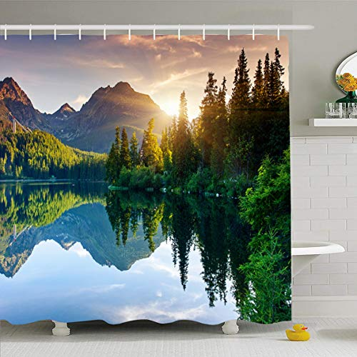 (Ahawoso Shower Curtain 72x78 Inches Nature Green Slovakia Mountain Lake Park High Evening Tatra Scene Spring Sunset Sunrise Waterproof Polyester Fabric Bathroom Curtains Set with Hooks)