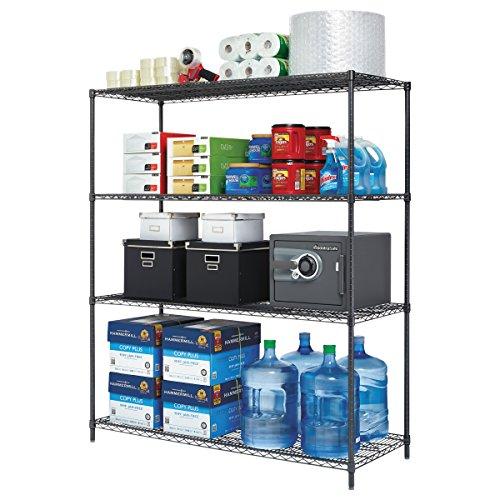Alera ALESW206024BA All-Purpose Wire Shelving Starter Kit, 4-Shelf, 60 x 24 x 72, Black Anthracite+ Alera Wire Shelving Solutions