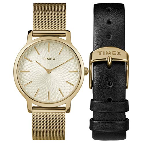 Timex Women's TWG019400 Metropolitan 34mm Gold-Tone Stainless Steel Mesh Bracelet Watch Gift Set + Black Leather ()