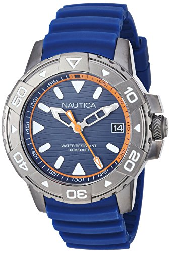 Nautica Men's 'EDGEWATER COLLECTION' Quartz Stainless Steel and Silicone Casual Watch, Color:Blue (Model: NAPEGT003)
