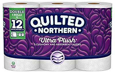 Quilted Northern Ultra Plush Toilet Paper, Pack of 6 Double Rolls, Equivalent to 12 Regular Rolls