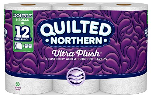 Quilted NorthernUltra Plush Toilet Paper, 6 Double Rolls, 6 = 12 Regular Bath Tissue Rolls, 154 3-Ply Sheets Per Roll