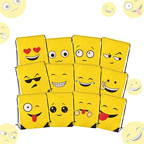 LOKIPA Emoji Drawstring Backpack 12pcs Cute Bags For Kids Girls And Boys Party Favors