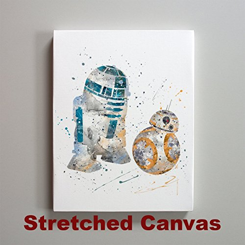 Star Wars BB-8 and R2-D2 11 x 14 inches Stretched Canvas Print
