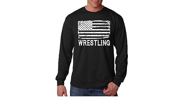 Men/'s Wrestling America Map Chest Black T Shirt MMA Fighting USA Flag Wrestle