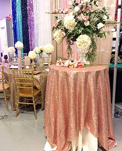 QueenDream 50 Round rose gold round Sequin Tablecloth Overlays wedding sequin tablecloth
