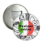 Mexico National Flag Cactus Sketch Round Bottle Opener Refrigerator Magnet Pins Badge Button Gift 3pcs