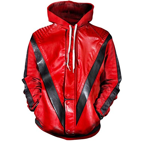 Men Women Michael Jackson Thriller Jacket 3D Printing Sweatshirt Hooded Streetwear,Thriller,XL -