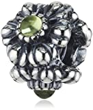 PANDORA Silver and Peridot Floral August Birthstone Charm 790580PE