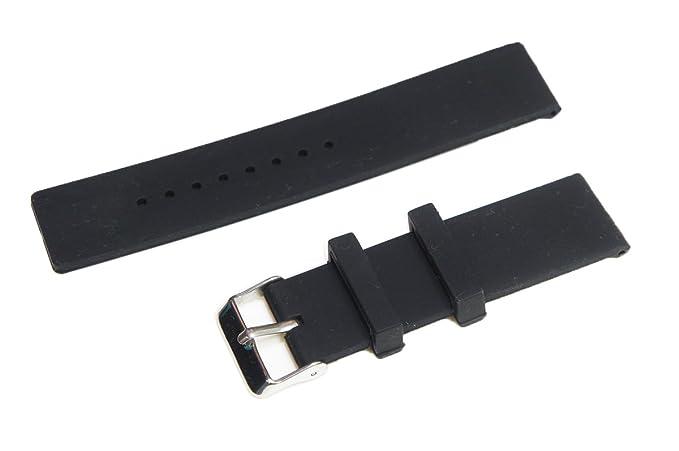 22 mm de Silicona Banda de Reloj de la Correa + 2 Pines + Herramienta para Pebble Time/Pebble Time Steel (Negro)