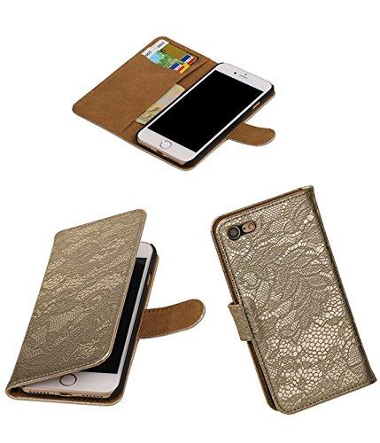 MobileFashion Dentelle Book Cases pour Iphone 7 Portefeuille Case Cover Booktype avec Slots pour cartes et support