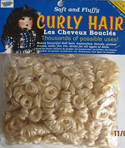 ONE & ONLY Craft VALUE PACK of 1/4 LB. of CURLY DOLL HAIR Color LIGHT BLONDE (114 Grams = 1/4 LB) (2001 Made in Taiwan)
