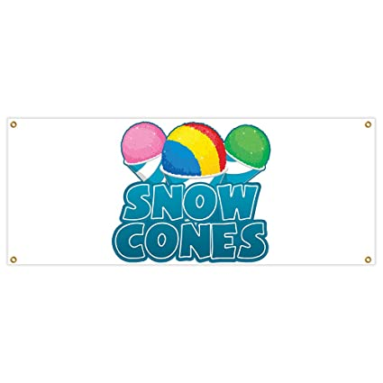 3/' X 8/' SNOW CONES VINYL BANNER SIGN