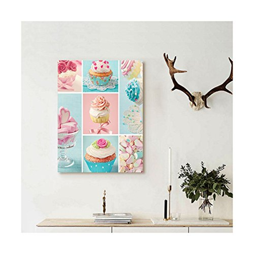 Liguo88 Custom canvas Kitchen Collage of Cupcakes and Marshmallows in Pastel Colors Cute Sweet Photos Wall Hanging for Light Blue Light Pink