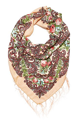 Ladies Floral Shawl Wrap Ukrainian Polish Russian Style Folk Shawls For Women (apricot orange)