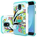 Samsung Galaxy J7 2018/J7 V 2nd gen/J7 Aero/J7 Top/J7 Aura/J7 Crown/J7 Refine/J7 Eon/J7 Star case, MAIKEZI Hybrid Dual Layer TPU Plastic Cover for Samsung SM-J737/J737V/J737T(Armor Green Owl)