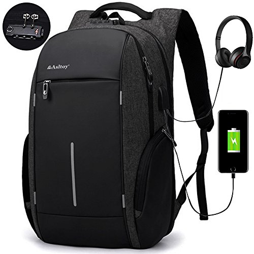 Laptop Backpack Rucksack Asltoy 17.3 inch Notebook Business Backpack Large Capacity TSA Lock Anti Theft Water Resistant USB Charging Port Headphone interface Travel bag College Bag School Bookbag (Bk)