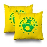 Decorative Pillow Cover Pack Of 2, 18''X18'' Two Sides Printed Brilha Brasil Brazilian Soccer Throw Pillow Cases Decorative Home Decor Indoor/Outdoor Nice Gift Kitchen Garden Sofa Bedroom Car Livin