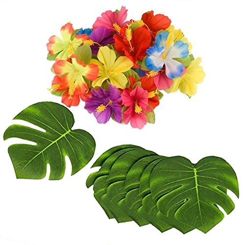 Adorox 96 Piece Tropical Jungle 8 Leaves Hawaiian Hibiscus Flower Luau Party Pack