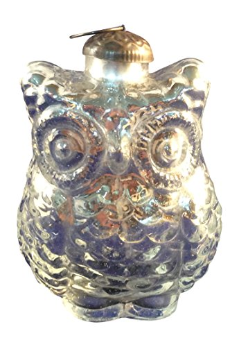 Colored Glass Owl Ornament with Brass Hanger (Silver)