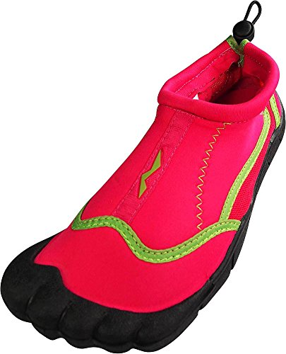 NORTY - Ladies Skeletoe Aqua Water Shoes for Pool Beach, Surf, Snorkeling, Exercise Slip on Sock, Fuchsia, Lime 38864-8B(M) US