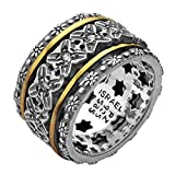 Paz Creations .925 Sterling Silver 14K Yellow Gold Spinner Ring (9), Made in Israel