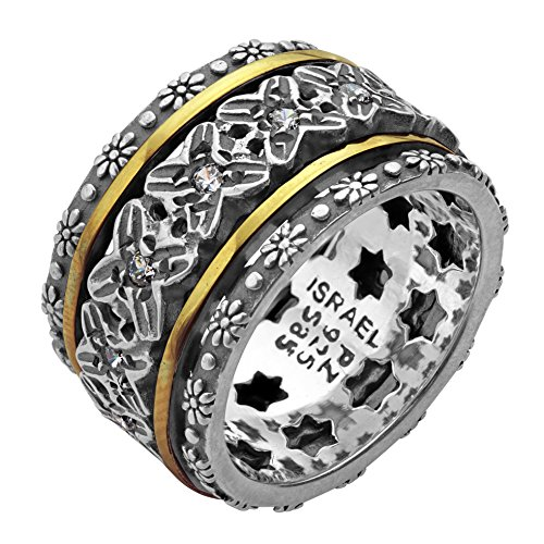 Paz Creations .925 Sterling Silver and 14K Yellow Gold Spinner Ring (8), Made in (Sterling Silver Mens Spinner)