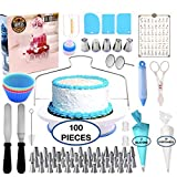 Cake Decorating Supplies-Amazing 100 pcs Kit, Cupcake Baking Set | SPECIAL Nonslip Rotating Turntable | 48 Numbered Tips |piping Bags-Pastry and Icing Tools-Russian Nozzles ,Spatula and Frosting tools