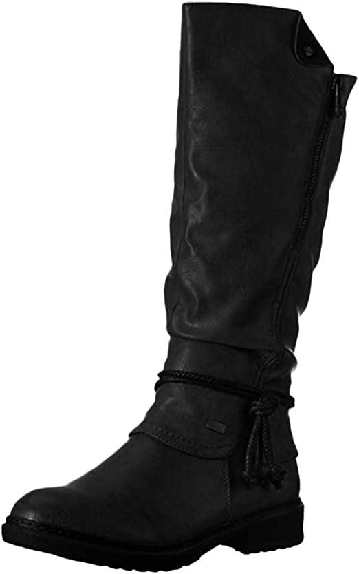 Vintage Women Leather Knee High Mid-Calf Boots Ladies Horse Ridding Zipper Shoes