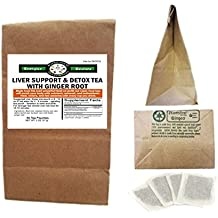 Liver Support + Detox Tea with Ginger (30 Pouches) - Amazing Taste & Benefits! Beet Root, Dandelion Root, Burdock Root, Chicory Root , Milk Thistle, Liver Support / Circulation / Blood Cleansing/Detox