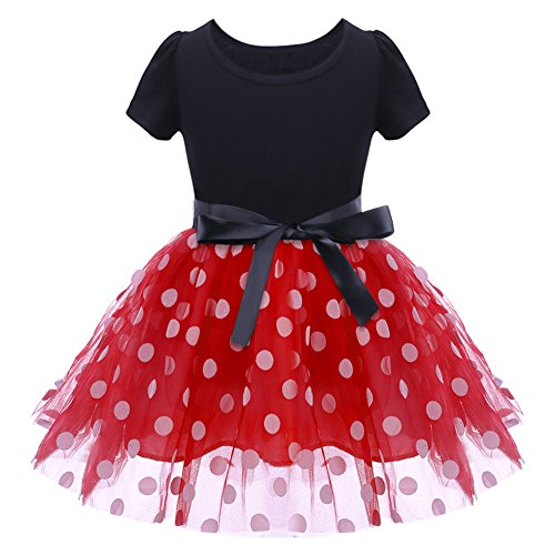 Birthday Costume Baby Girl Vintage Polka Dot Dress Halloween Cosplay Birthday Princess Flower Bow Tutu Ballerina Dance Skirt Fancy Christmas Ballet Leotard Costumes with 3D Headband Red 2-3 Years (Outfits Christmas For Dance)