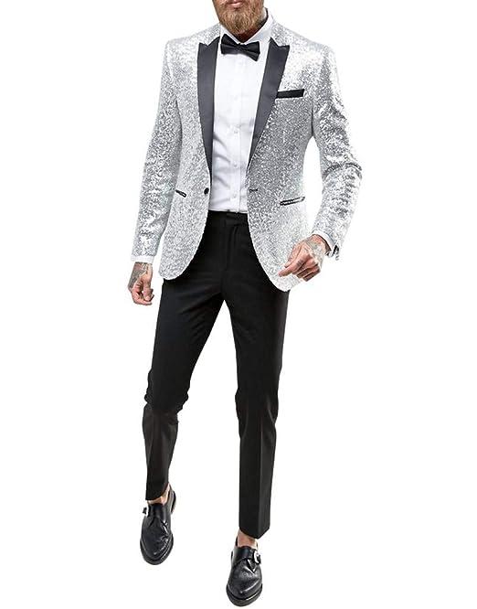 Longra-Uomo Giacca Elegante Vestito da Uomo Slim Fit Cappotto Giacca ... 07757f87496