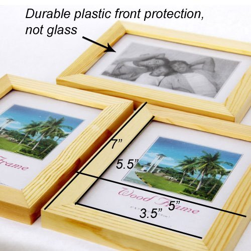 Set of 3 Solid Wood Picture Frames for 4x6