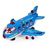 NextX Bump And Go Action 747 Airplane Toys with Lights And Sounds - Changes Direction On Contact ,Toys Vehicles For Kids Age 3 And Up (Blue)