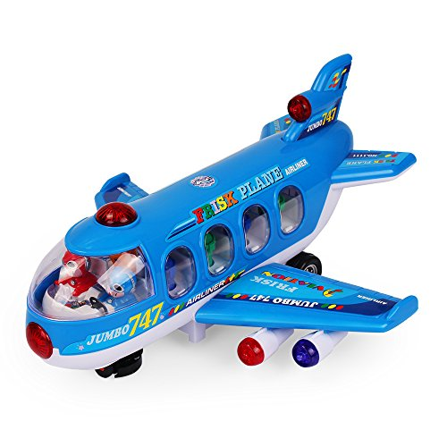 NextX Bump And Go Action 747 Airplane Toys with Lights And Sounds - Changes Direction On Contact ,Toys (Police Balance Bike)