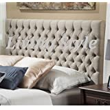 Stylish Roma Matching Button Headboard in Chenille Fabric 30 Height in 2ft6,3ft,4ft,4ft6,5ft,6ft (5FT King Size, Mink) by Living Style