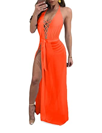 7f1c34d7bc4a Women's Lace Up Maxi Romper Dress Mesh Patchwork See Through Halter Neck  Sleeveless Backless Medium Orange