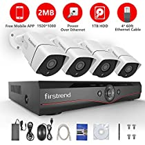 Security Camera System, Firstrend 4CH POE NVR Security Camera System with 4x 1080P HD Security Camera, Plug and Play Security System with Pre-installed 1TB Hard Drive, Free APP and Night Vision