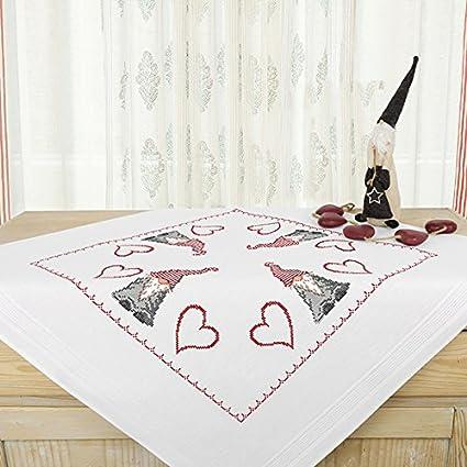 Kamaca Stickpackung LUSTIGER WICHTEL Kreuzstich vorgezeichnet Stickdecke und Stickgarn aus 100% Baumwolle zum Selbersticken (
