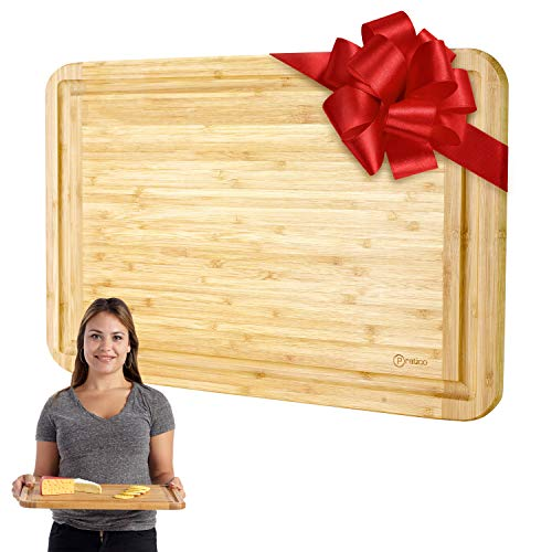 Bamboo Cutting Board and Serving Tray with Juice Groove - Extra Large 18 x 12 inches - Made Using Premium ()