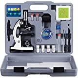AmScope 120X-1200X 52-pcs M30-ABS-KT2-W Kids Beginner Microscope Science Kit with Metal Body Microscope, Plastic Slides, LED Light and Carrying Box